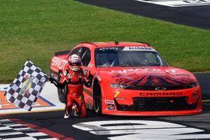 Justin Allgaier, JR Motorsports, Chevrolet Camaro BRANDT celebrates his win