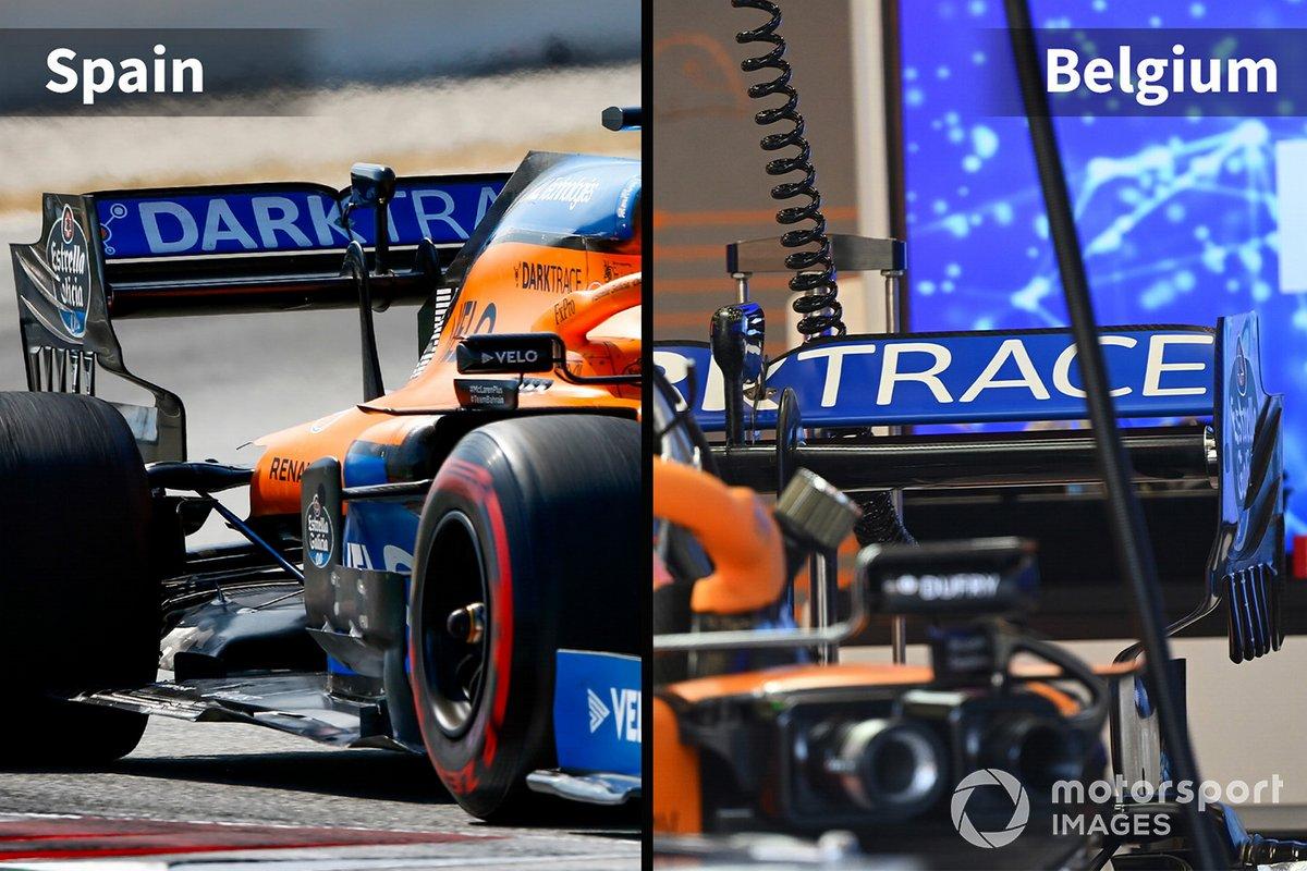 McLaren MCL35 comparación España vs. Bélgica