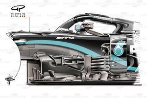 Mercedes AMG F1 W11 old bargeboard