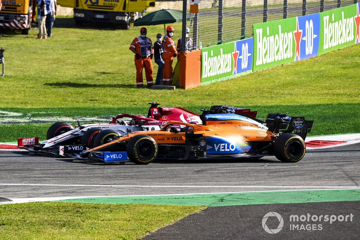 Carlos Sainz Jr., McLaren MCL35, Kimi Raikkonen, Alfa Romeo Racing C39
