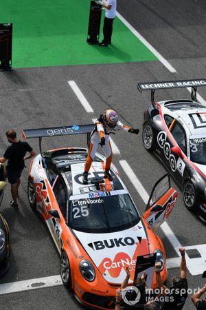 Larry ten Voorde, Team GP Elite, 1st position, celebrates on the roof of his car in Parc Ferme