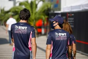 Lance Stroll, Racing Point and Sergio Perez, Racing Point in the paddock