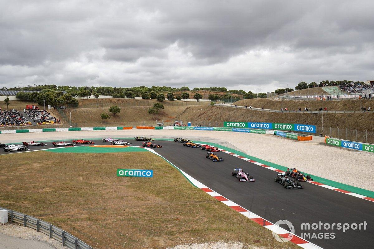Valtteri Bottas, Mercedes F1 W11, Max Verstappen, Red Bull Racing RB16, Sergio Pérez, Racing Point RP20, Carlos Sainz Jr., McLaren MCL35, Charles Leclerc, Ferrari SF1000