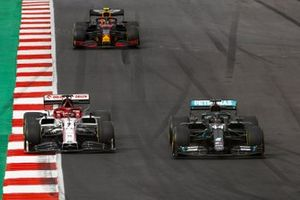 Lewis Hamilton, Mercedes F1 W11, Kimi Raikkonen, Alfa Romeo Racing C39, and Alex Albon, Red Bull Racing RB16
