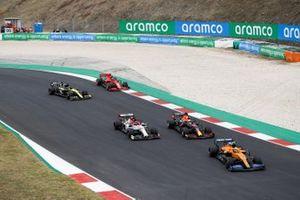 Lando Norris, McLaren MCL35, Max Verstappen, Red Bull Racing RB16, Kimi Raikkonen, Alfa Romeo Racing C39, Daniel Ricciardo, Renault F1 Team R.S.20, and Charles Leclerc, Ferrari SF1000