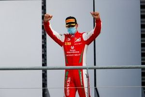Mick Schumacher, Prema Racing celebrates on the podium