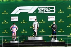 Dylan Pereira, BWT Lechner Racing, 2nd position, Florian Latorre, CLRT, 1st position, and Florian Latorre, CLRT, 3rd position, on the podium