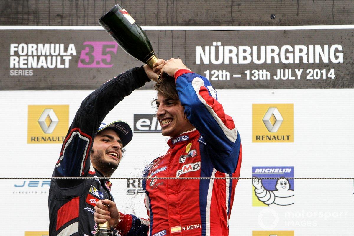 Podio: Carlos Sainz jr., Dams y Roberto Merhi, Zeta Corse