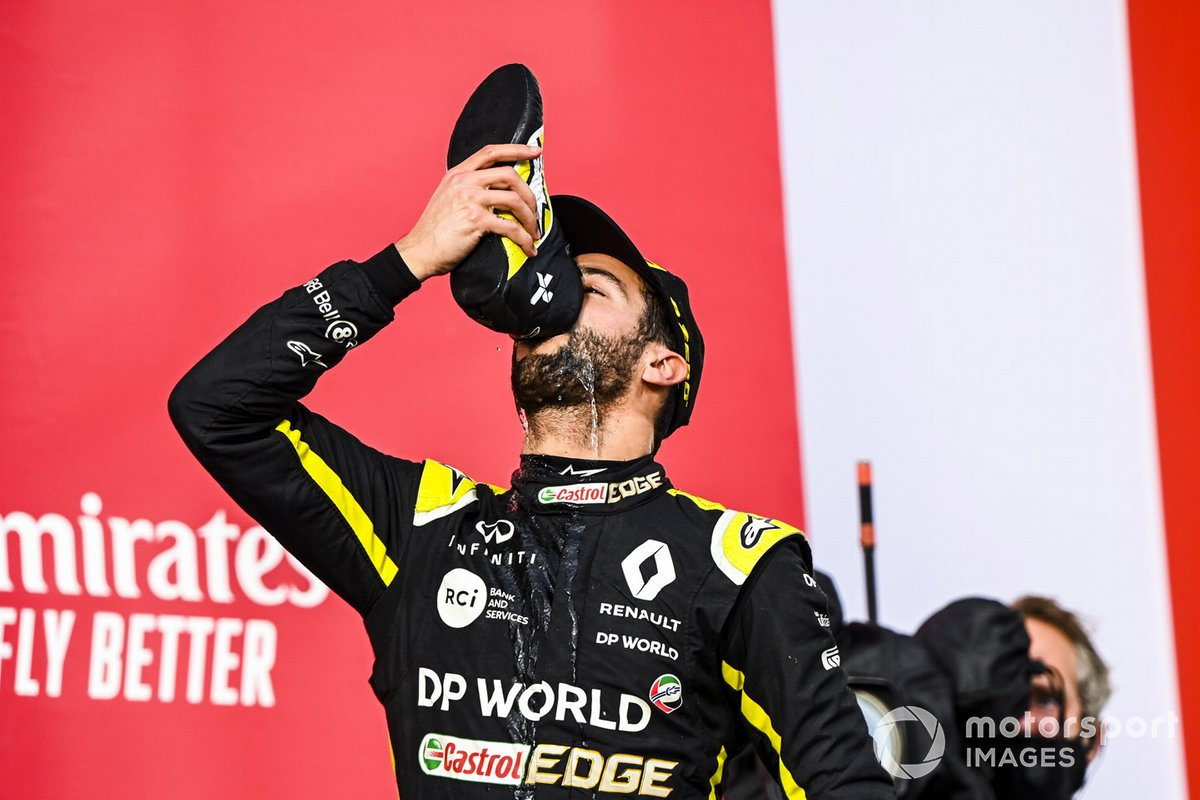 Daniel Ricciardo, Renault F1 celebrates on the podium with a shoey