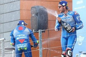 Race winner Alex Rins, Team Suzuki MotoGP, third place Joan Mir, Team Suzuki MotoGP