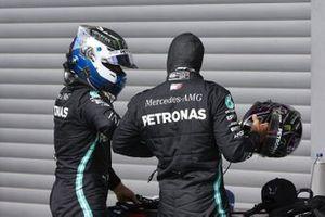 Valtteri Bottas, Mercedes-AMG Petronas F1, congratulates Lewis Hamilton, Mercedes-AMG Petronas F1, on his pole in Parc Ferme