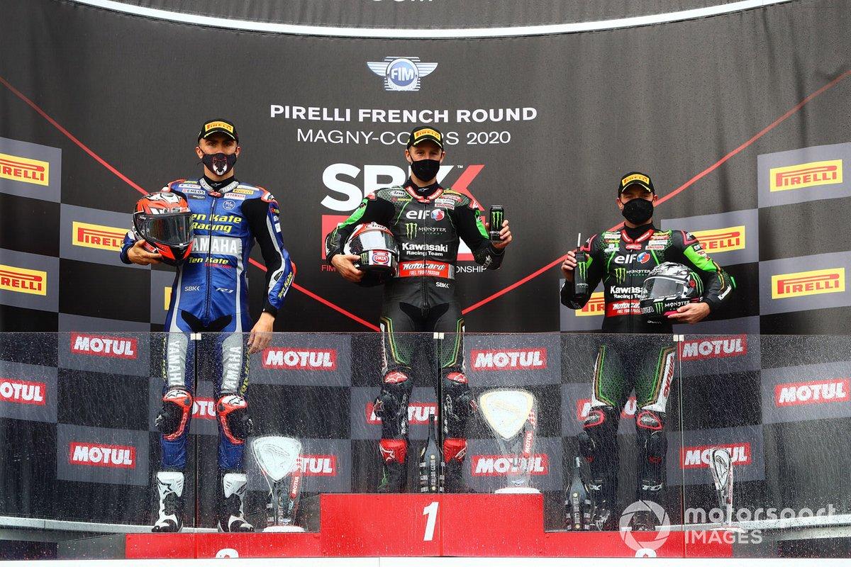 Loris Baz, Ten Kate Racing Yamaha, Jonathan Rea, Kawasaki Racing Team, Alex Lowes, Kawasaki Racing Team