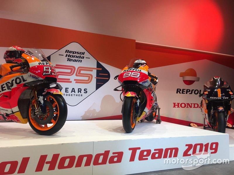 Bikes von Marc Marquez, Repsol Honda Team, und Jorge Lorenzo, Repsol Honda Team für die MotoGP-Saison 2019