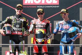 Second place Jonathan Rea, Kawasaki Racing, winner Alvaro Bautista, Aruba.it Racing-Ducati Team, third place Marco Melandri, GRT Yamaha WorldSBK