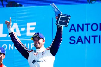 Sam Bird, Envision Virgin Racing, celebrates on the podium