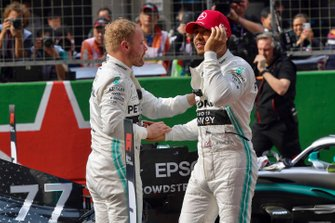 Pole man Valtteri Bottas, Mercedes AMG F1, and Lewis Hamilton, Mercedes AMG F1, congratulate each other