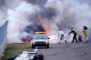 La voiture de Riccardo Paletti, Osella FA1C-Ford, après l'accident