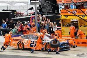 Joey Logano, Team Penske, Ford Mustang Autotrader, makes a pit stop