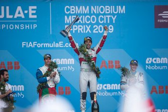 Race winner Lucas Di Grassi, Audi Sport ABT Schaeffler celebrates on the podium with Antonio Felix da Costa, BMW I Andretti Motorsports, 2nd position, Edoardo Mortara, Venturi Formula E, 3rd position