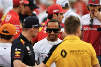 Max Verstappen, Red Bull Racing, and Lewis Hamilton, Mercedes AMG F1