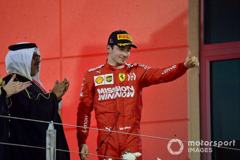 Charles Leclerc, Ferrari, 3° classificato, arriva sul podio