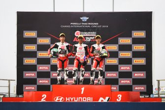 Podium Race 1: Sho Nishimura, Afridza Munandar, Takuma Matsuyama