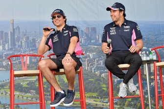 Lance Stroll, Racing Point, and Sergio Perez, Racing Point, on stage