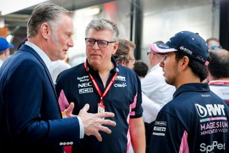 Sean Bratches, Managing Director of Commercial Operations, Formula One Group, Otmar Szafnauer, Chief Operating Officer, Racing Point and Sergio Perez, Racing Point