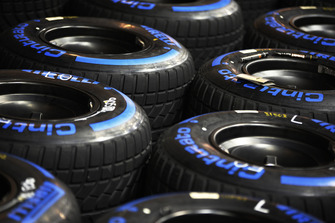 Wet Pirelli tyres are prepared for the weekend