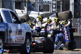 AMR IndyCar Safety Team assisting Marco Andretti, Herta - Andretti Autosport Honda after crash