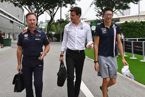Christian Horner, Red Bull Racing Team Principal, Toto Wolff, Mercedes AMG F1 Director of Motorsport and Esteban Ocon, Racing Point Force India F1 Team