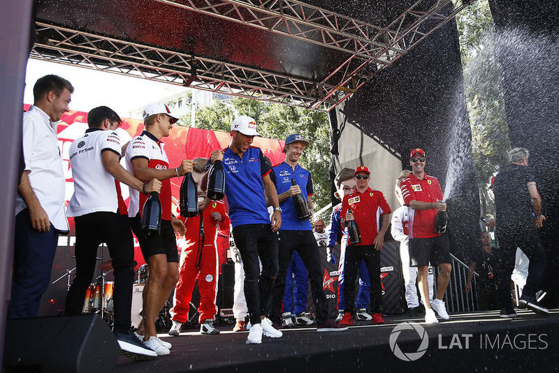 Charles Leclerc, Sauber, Marcus Ericsson, Sauber, Pierre Gasly, Scuderia Toro Rosso Toro Rosso, Brendon Hartley, Scuderia Toro Rosso y Sebastian Vettel, Ferrari