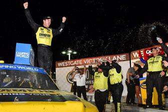 Grant Enfinger, ThorSport Racing, Ford F-150 celebrates after winning