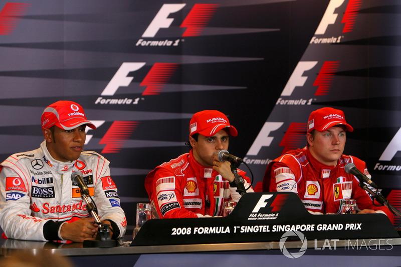 Lewis Hamilton, McLaren avec Felipe Massa, Ferrari et Kimi Räikkönen, Ferrari