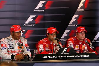Lewis Hamilton, McLaren, Felipe Massa, Ferrari y Kimi Raikkonen, Ferrari