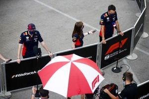 Max Verstappen, Red Bull Racing and Alex Albon, Red Bull Racing speak to the media