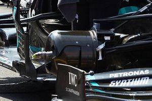 Zoom sur les écopes de freins avant de Lewis Hamilton, Mercedes F1 W11