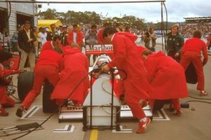 Alain Prost, McLaren MP4/2C TAG Porsche takes a pit stop on the way to victory