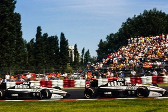 Satoru Nakajima, Tyrrell 020 Honda, leads Stefano Modena, Tyrrell 020 Honda