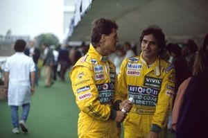 Michael Schumacher with team mate Nelson Piquet, in the paddock