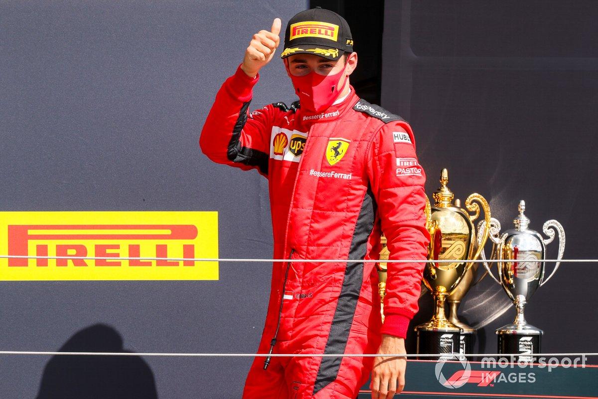 Charles Leclerc, Ferrari on the podium
