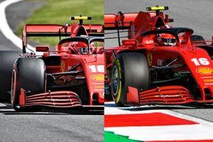 A confronto l'ala anteriore di Charles Leclerc, Ferrari SF1000 , a sinistra Silverstone, a destra GP di Stiria