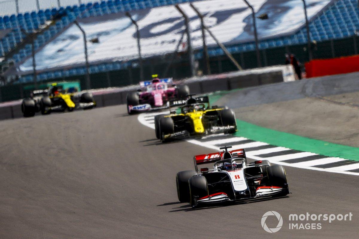 Romain Grosjean, Haas VF-20, Daniel Ricciardo, Renault F1 Team R.S.20, e Lance Stroll, Racing Point RP20