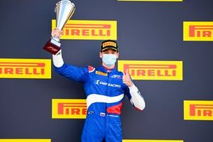Race Winner Alexander Smolyar, ART Grand Prix celebrates on the odium with the trophy