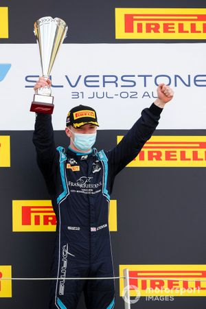 Race Winner Dan Ticktum, Dams celebrates on the podium with the trophy