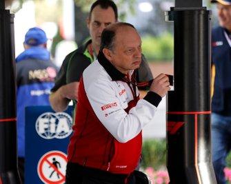 Frederic Vasseur, Team Principal, Alfa Romeo Racing arrives at the circuit