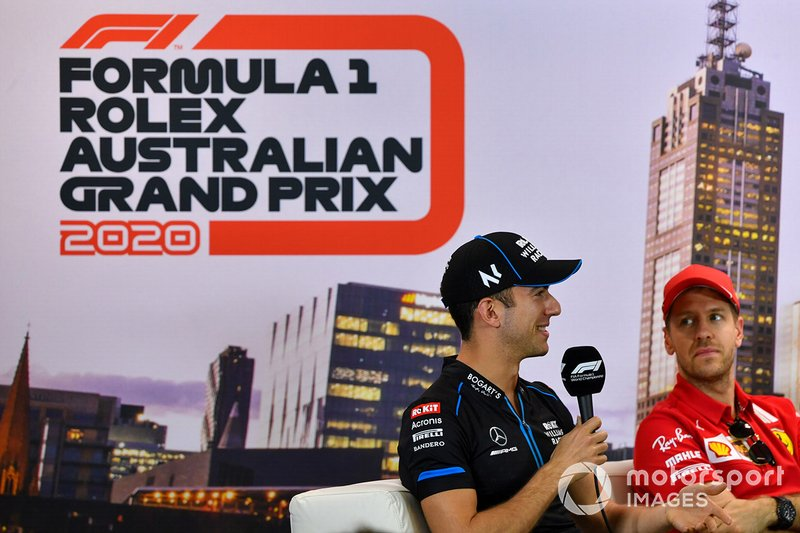 Nicholas Latifi, Williams Racing, Sebastian Vettel, Ferrari in conferenza stampa