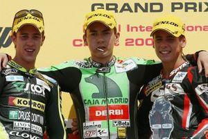 Podio: ganador de la carrera Jorge Lorenzo, Derbi, segundo lugar Andrea Dovizioso, Honda, tercer lugar Álvaro Bautista, Aprilia