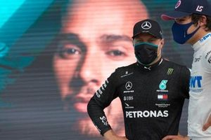 Valtteri Bottas, Mercedes-AMG Petronas F1 and Lance Stroll, Racing Point in Parc Ferme