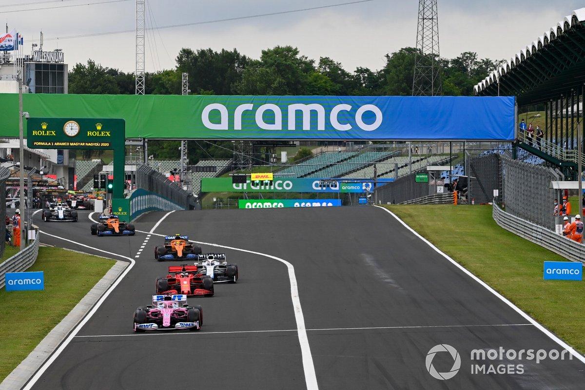Sergio Pérez, Racing Point RP20, Sebastian Vettel, Ferrari SF1000, George Russell, Williams FW43, Lando Norris, McLaren MCL35, Carlos Sainz Jr., McLaren MCL35